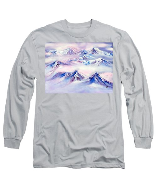 Flying Over Snowy Mountains Long Sleeve T-Shirt