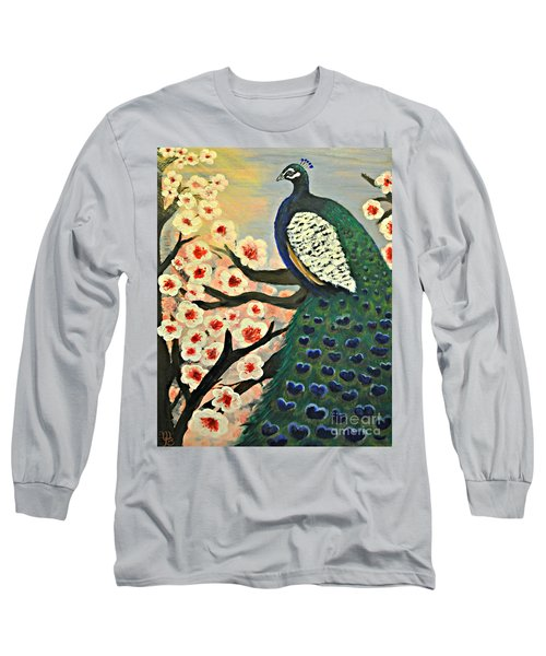 Mr. Peacock Cherry Blossom Long Sleeve T-Shirt by Mindy Bench