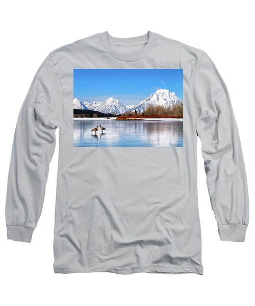 Mt Moran With Geese Long Sleeve T-Shirt