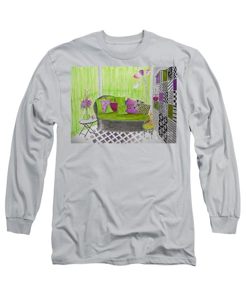My Happy Place -- Drawing Of Colorful Moroccan Porch Long Sleeve T-Shirt
