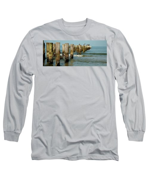 Naples Pier And Pelicans Long Sleeve T-Shirt