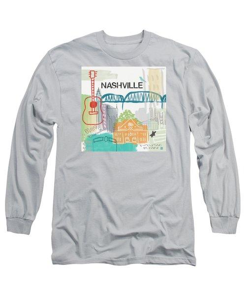Nashville Cityscape- Art By Linda Woods Long Sleeve T-Shirt