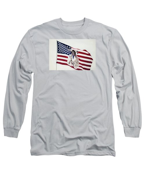 Long Sleeve T-Shirt featuring the photograph Native American Flag by Emanuel Tanjala