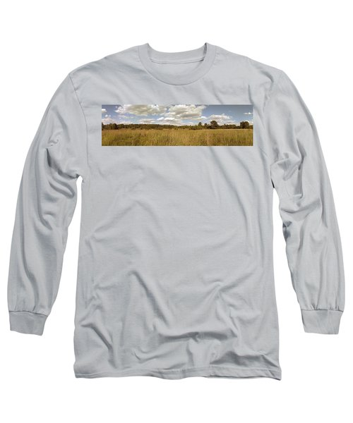 Natural Meadow Landscape Panorama. Long Sleeve T-Shirt
