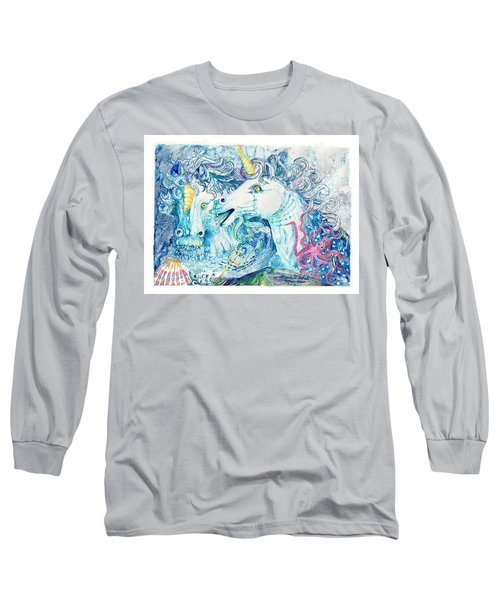 Neptune's Horses Long Sleeve T-Shirt by Melinda Dare Benfield