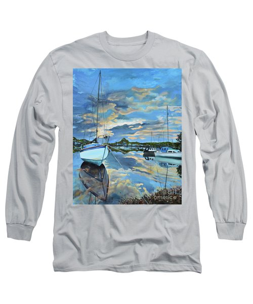 Nestled In For The Night At Mylor Bridge - Cornwall Uk - Sailboat  Long Sleeve T-Shirt