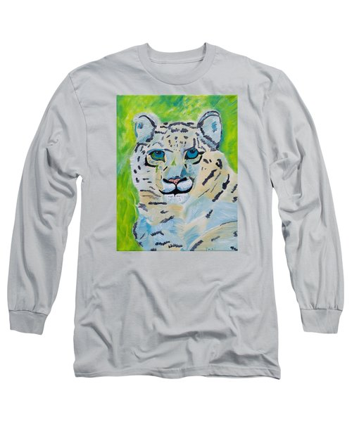 Eyes On You Snow Leopard Long Sleeve T-Shirt by Meryl Goudey