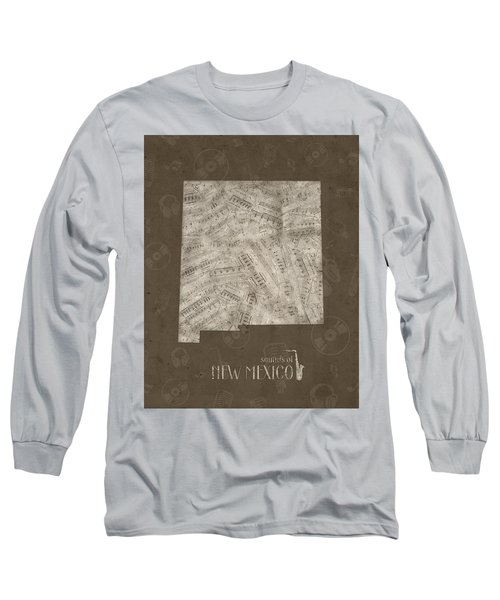 New Mexico Map Music Notes 3 Long Sleeve T-Shirt
