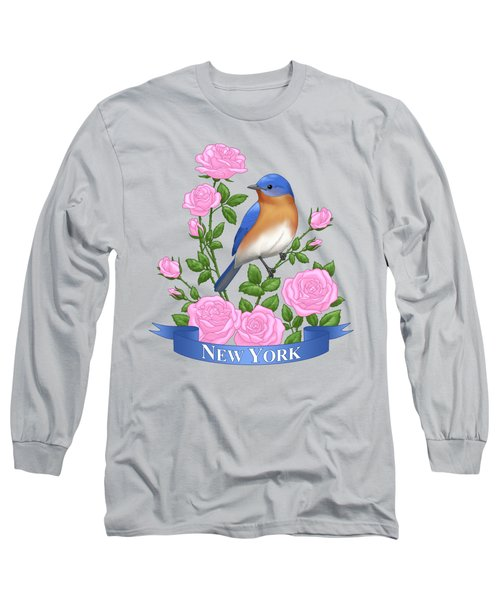 New York Bluebird And Pink Roses Long Sleeve T-Shirt
