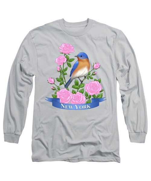 New York Bluebird And Pink Roses Long Sleeve T-Shirt