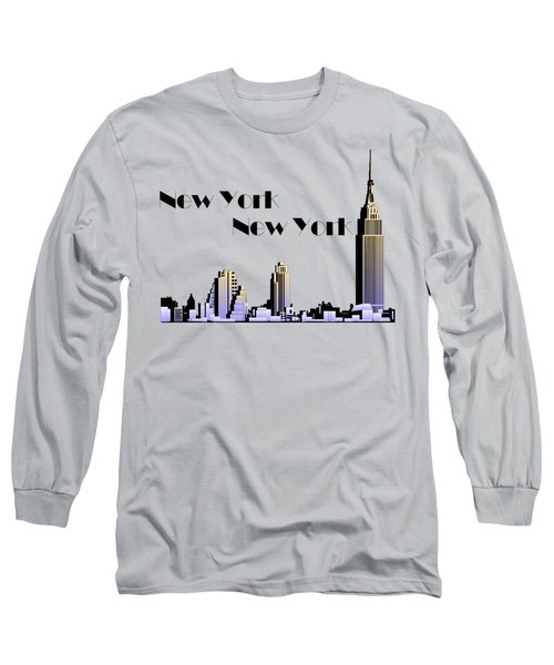 New York New York Skyline Retro 1930s Style Long Sleeve T-Shirt by Heidi De Leeuw