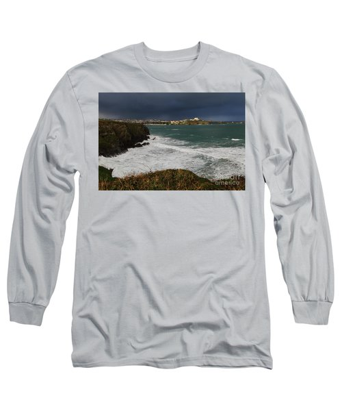 Long Sleeve T-Shirt featuring the photograph Newquay Squalls On Horizon by Nicholas Burningham