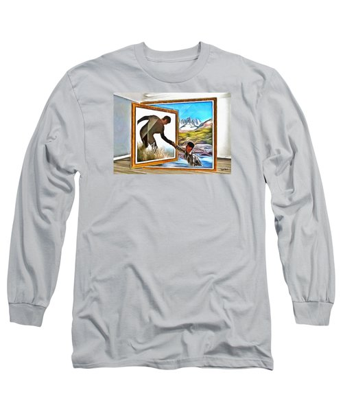 Long Sleeve T-Shirt featuring the painting Night At The Art Gallery - One To Another by Wayne Pascall