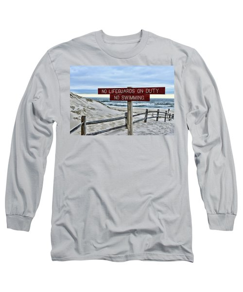 No Lifeguards On Duty Long Sleeve T-Shirt by Paul Ward