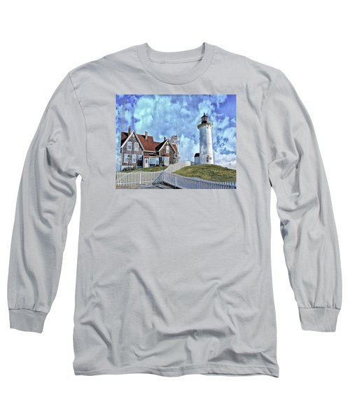 Long Sleeve T-Shirt featuring the photograph Nobska Point Lighthouse Falmouth Cape Cod by Constantine Gregory