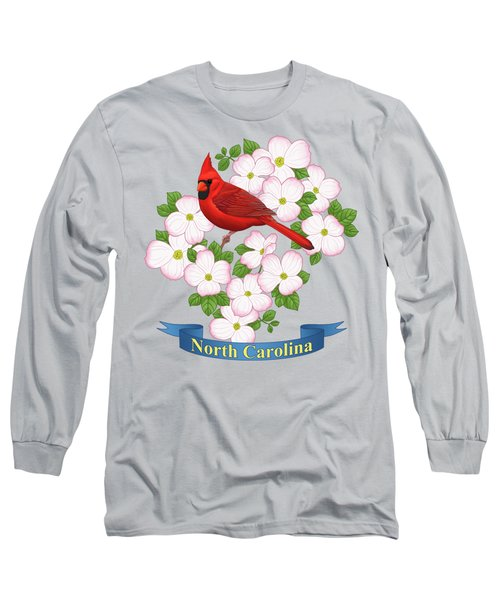 North Carolina State Bird And Flower Long Sleeve T-Shirt
