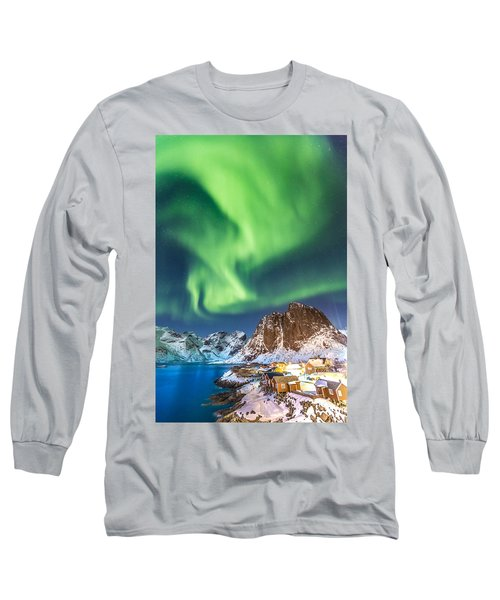 Northern Lights In Hamnoy Long Sleeve T-Shirt by Alex Conu