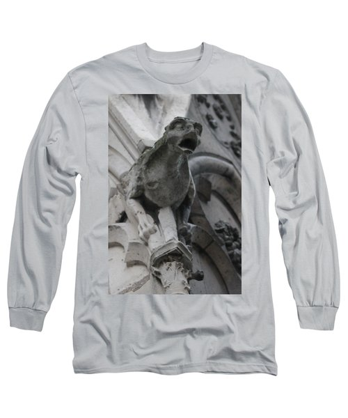 Long Sleeve T-Shirt featuring the photograph Notre Dame Gargoyle Grotesque by Christopher Kirby