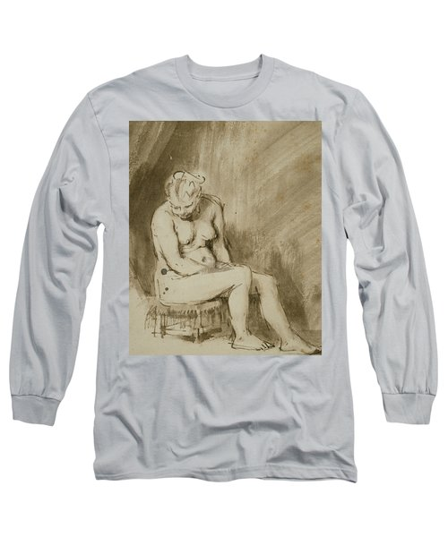 Nude Woman Seated On A Stool  Long Sleeve T-Shirt