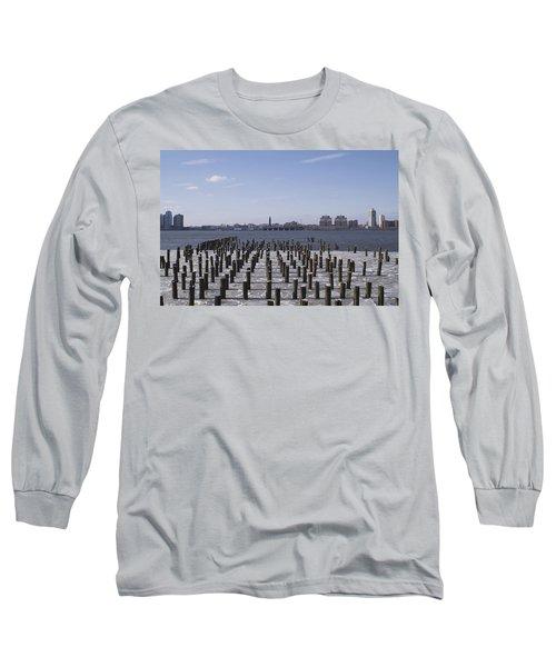 New York City Piers  Long Sleeve T-Shirt by Henri Irizarri