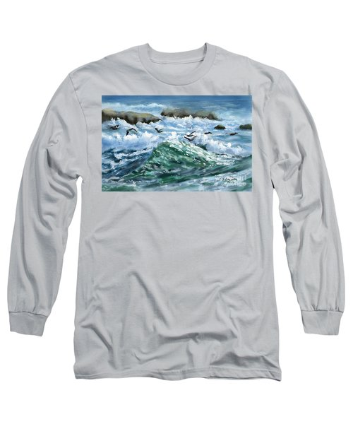 Ocean Waves And Pelicans Long Sleeve T-Shirt by Judy Filarecki