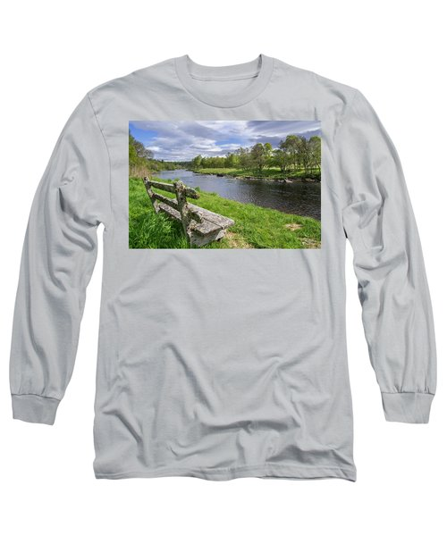 Old Bench Along Spey River, Scotland Long Sleeve T-Shirt