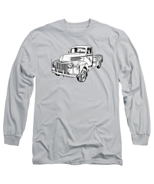 Old Flat Bed Ford Work Truck Illustration Long Sleeve T-Shirt