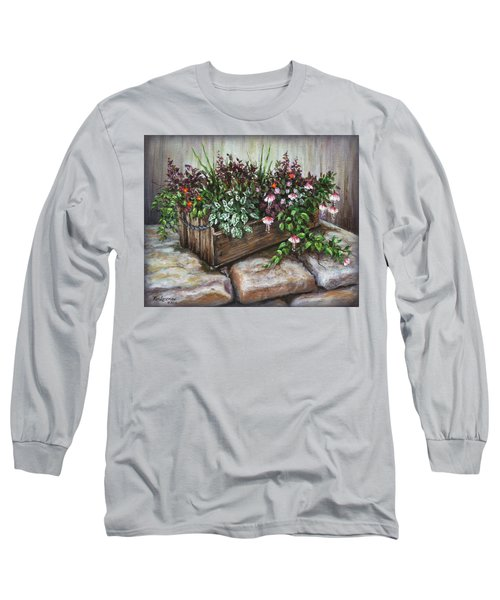 Long Sleeve T-Shirt featuring the painting Old Flower Box by Kim Lockman