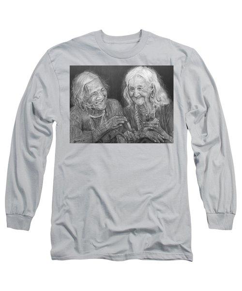 Old Friends, Smokin' And Jokin' Long Sleeve T-Shirt by Quwatha Valentine