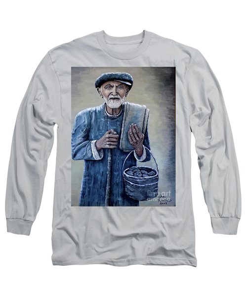 Long Sleeve T-Shirt featuring the painting Old Man With His Stones by Judy Kirouac