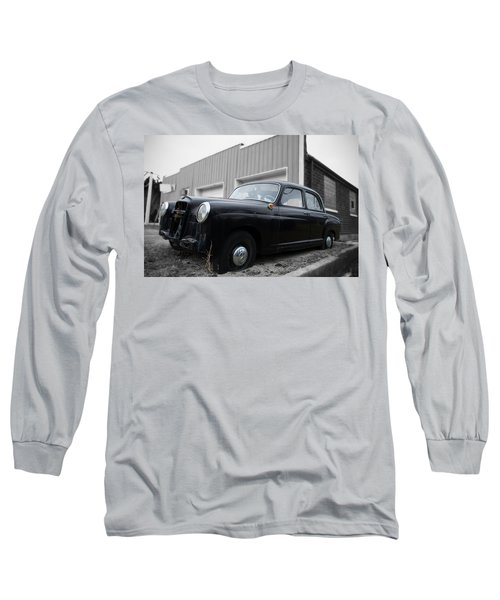 Long Sleeve T-Shirt featuring the photograph Old Mercedes Sitting At The Shop - Color On Black And White by Janice Adomeit