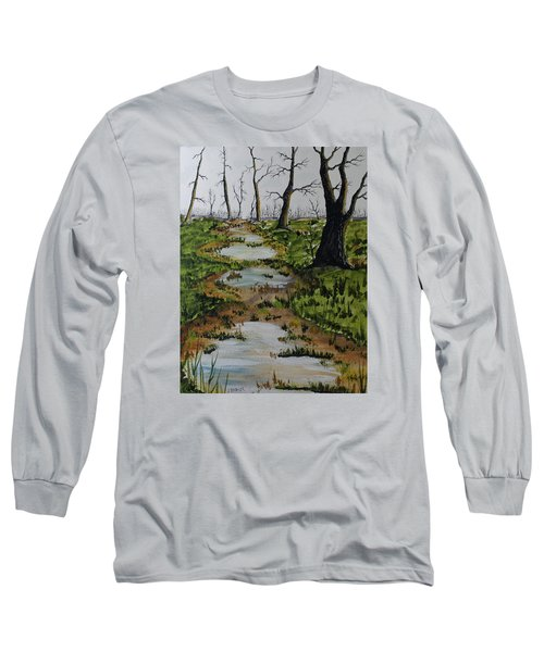 Long Sleeve T-Shirt featuring the painting Old Walking Trail by Jack G  Brauer