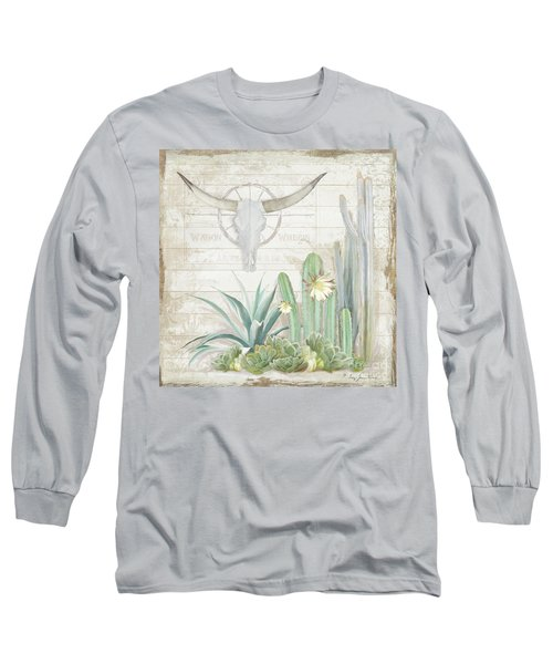 Old West Cactus Garden W Longhorn Cow Skull N Succulents Over Wood Long Sleeve T-Shirt