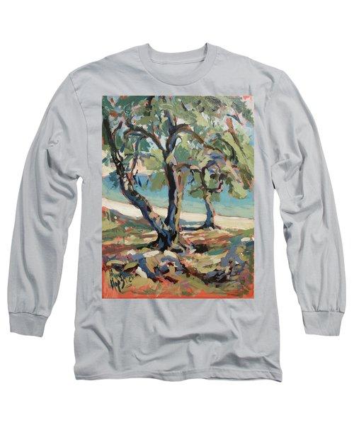 Olive Trees Along Marmari Beach Paxos Long Sleeve T-Shirt