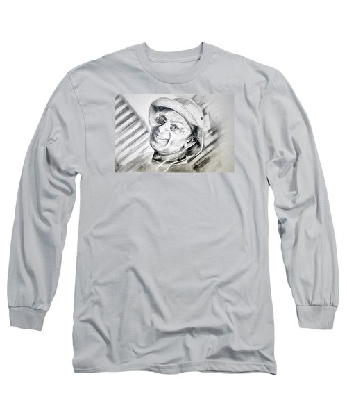Long Sleeve T-Shirt featuring the drawing Ollie Christmas by Antonia Citrino