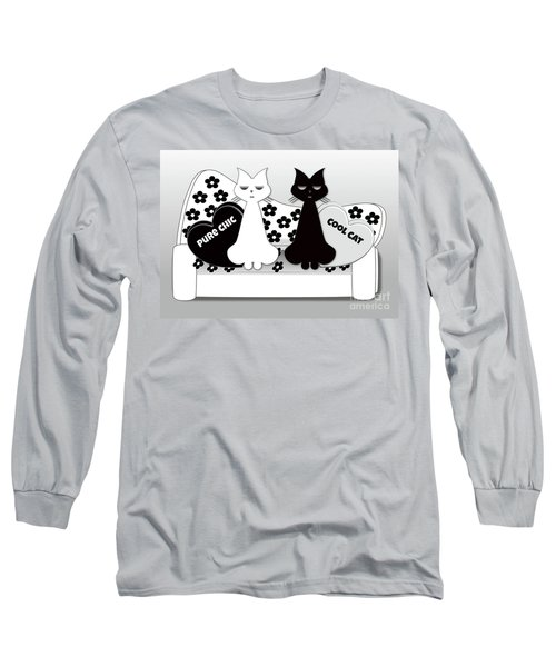 Opposites Attract - Black And White Cats On The Sofa Long Sleeve T-Shirt