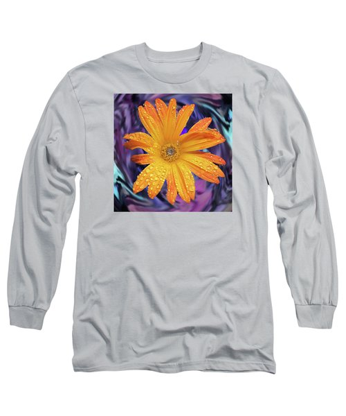 Orange Daisy Swirl Long Sleeve T-Shirt