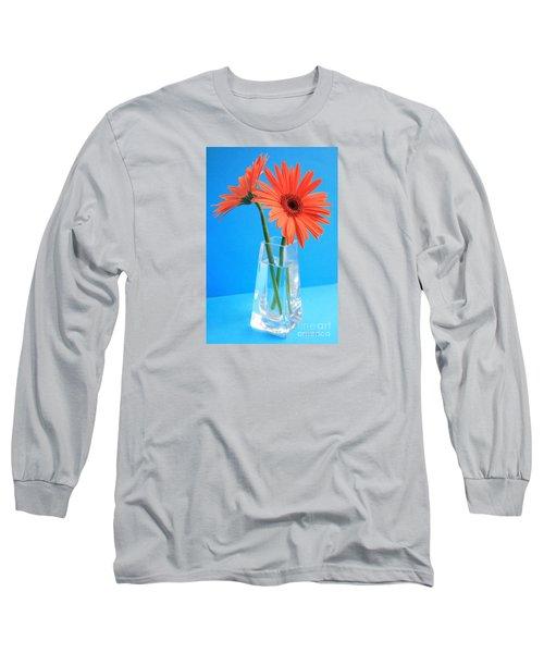 Orange Gerberas In A Vase - Aqua Background Long Sleeve T-Shirt