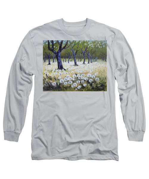 Orchard With Dandelions Long Sleeve T-Shirt by Irek Szelag
