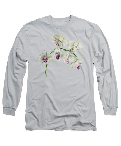 Orchid Watercolor Painting Long Sleeve T-Shirt
