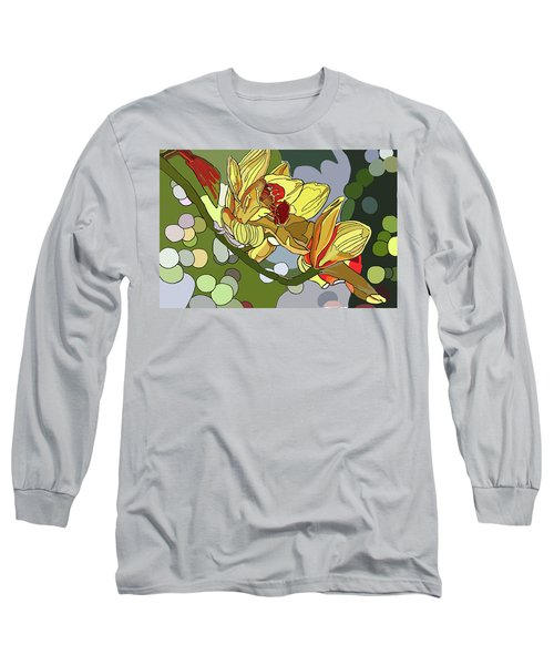 Orchids In Sunlight Long Sleeve T-Shirt by Jamie Downs