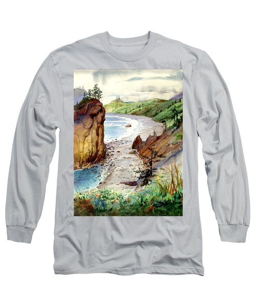 Long Sleeve T-Shirt featuring the painting Oregon Coast #3 by John Norman Stewart