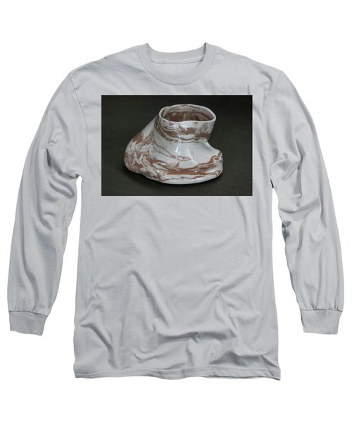 Organic Marbled Clay Ceramic Vessel Long Sleeve T-Shirt by Suzanne Gaff