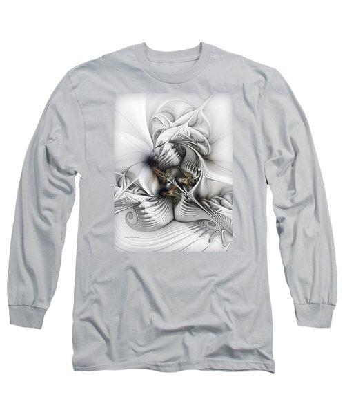Long Sleeve T-Shirt featuring the digital art Organic Spiral Tower Construction by Karin Kuhlmann