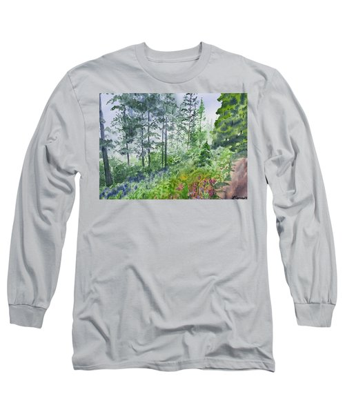 Original Watercolor - Summer Pine Forest Long Sleeve T-Shirt