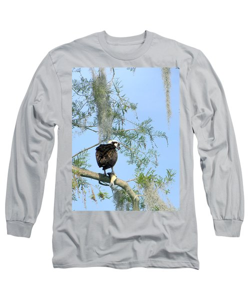 Osprey With A Fish Long Sleeve T-Shirt by Chris Mercer