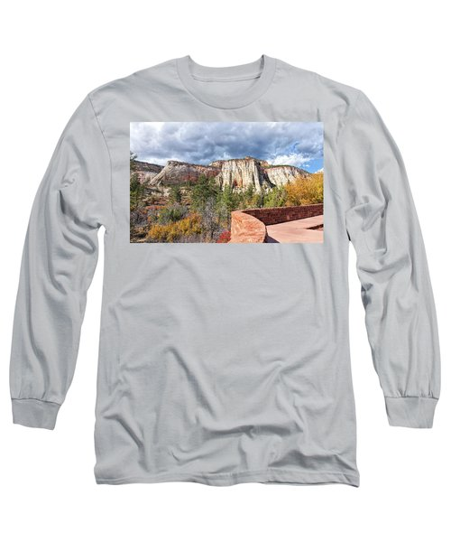 Long Sleeve T-Shirt featuring the photograph Overlook In Zion National Park Upper Plateau by John M Bailey