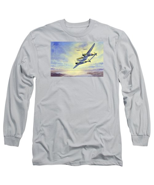 Long Sleeve T-Shirt featuring the painting P-38 Lightning Aircraft by Bill Holkham