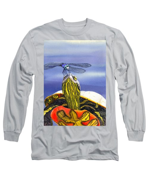Painted Turtle And Dragonfly Long Sleeve T-Shirt