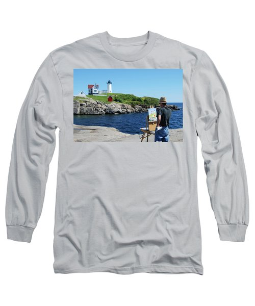 Painting Nubble Lighthouse Long Sleeve T-Shirt